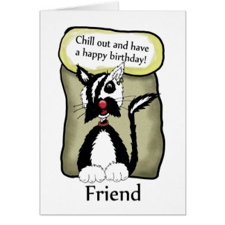 Friend Chill Out Birthday Card - Emo Cat Birthday