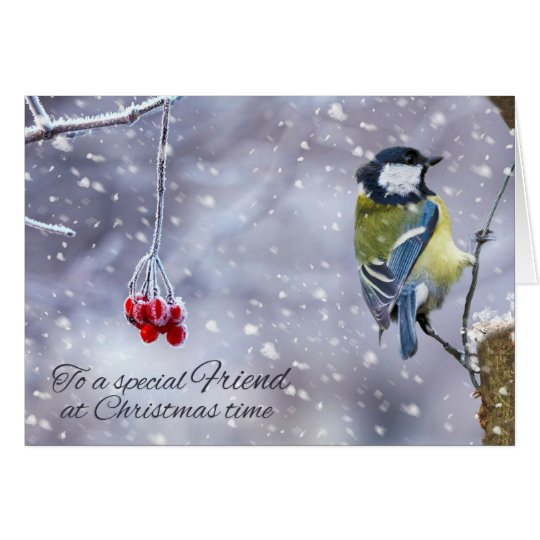 Friend Christmas Blue_Tit Greeting Card
