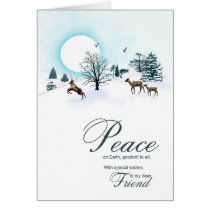 Friend, Christmas scene with reindeer Card