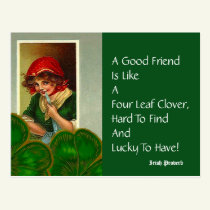 Friend Four Leaf Proverb St Patricks Day Postcards