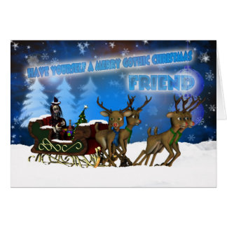 Friend Gothic Christmas Card, H.I.P. And Reindeer Greeting Card