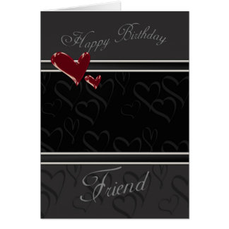 Friend Happy Birthday card for male with hearts