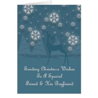Friend & His Boyfriend Reindeer Christmas Card