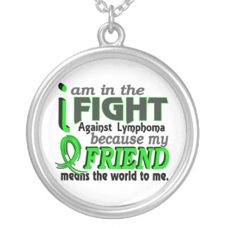 Friend Means The World To Me Lymphoma Round Pendant Necklace