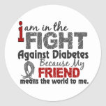 Friend Means World To Me Diabetes Classic Round Sticker
