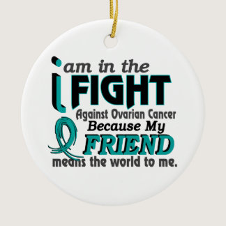 Friend Means World To Me Ovarian Cancer Ceramic Ornament