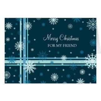 Friend Merry Christmas Card Blue Snowflakes