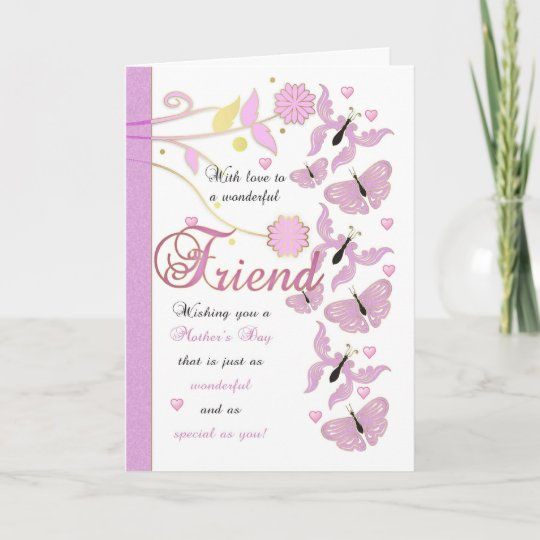 friend mothers day card with flowers and butterfl