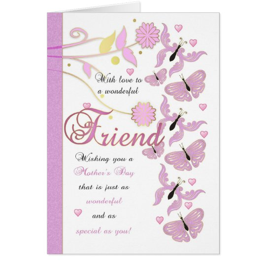 Friend Mother's Day Card With Flowers And Butterfl
