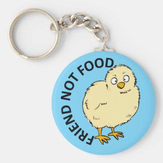 Friend Not Food Vegan Chicken Basic Round Button Keychain