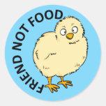 Friend Not Food Vegan Chicken Round Stickers