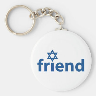 Friend of Israel Basic Round Button Keychain