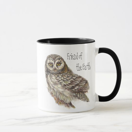 Friend of the Earth, Earth Day, Owl Bird Mug