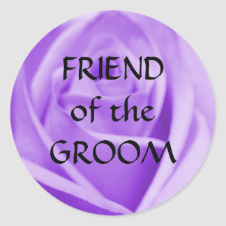 FRIEND of the GROOM- (large) lavender rose sticker