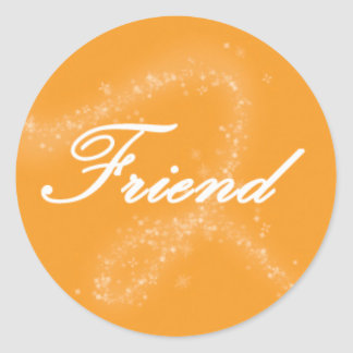 Friend on an Orange Background Classic Round Sticker