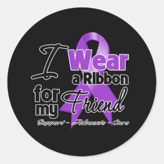Friend - Pancreatic Cancer Ribbon Classic Round Sticker