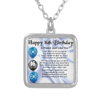Friend Poem - 16th Birthday - Blue design Silver Plated Necklace