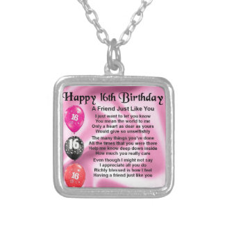 Friend Poem - 16th Birthday Silver Plated Necklace