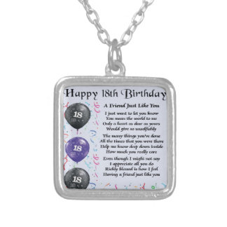 Friend Poem - 18th Birthday - Blue Design Silver Plated Necklace