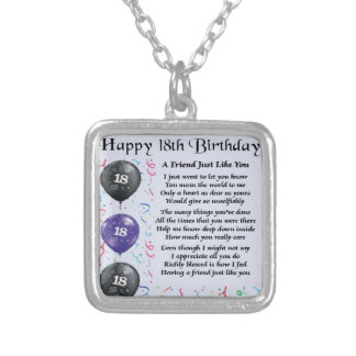Friend Poem 18th Birthday Silver Plated Necklace