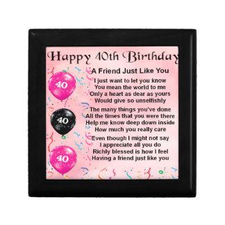 Friend Poem - 40th Birthday Gift Box