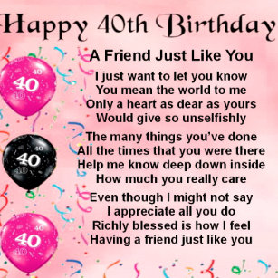 40th birthday for friend gifts on zazzle
