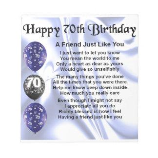 Friend Poem - 70th Birthday Notepad