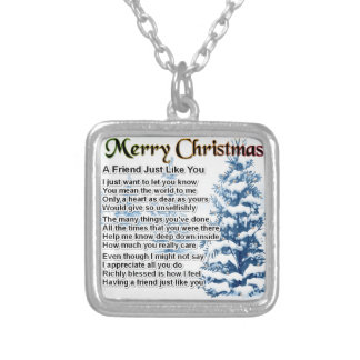Friend Poem - Christmas Design Silver Plated Necklace