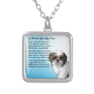 Friend Poem - Shih Tzu Design Silver Plated Necklace