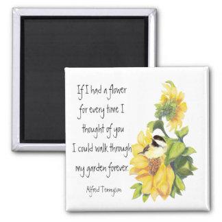 Friend Poem with Chickadee & Sunflower Garden 2 Inch Square Magnet
