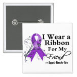 Friend Purple Ribbon - Pancreatic Cancer Pinback Button