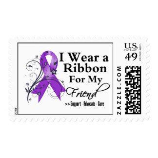 Friend Purple Ribbon - Pancreatic Cancer Postage