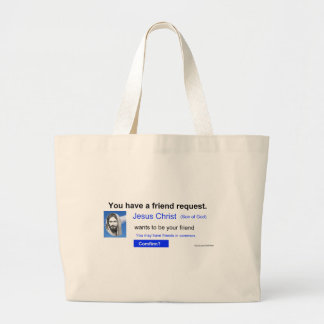 Friend Request Large Tote Bag