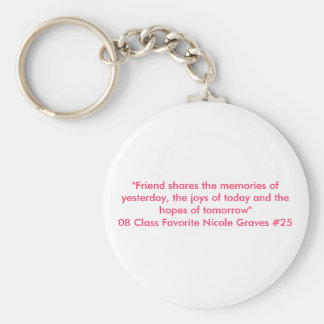 """Friend shares the memories of yesterday, the j... Keychain"
