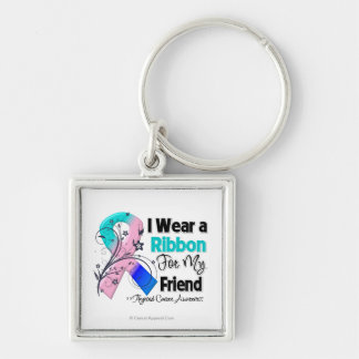 Friend - Thyroid Cancer Ribbon Silver-Colored Square Keychain
