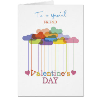 Friend Valentine Rainbow Clouds and Hearts Card