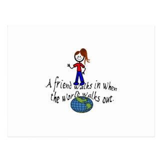 Friend Walks In Postcard