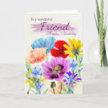 "Friend Watercolor Wild Flowers Birthday Card<br><div class=""desc"">Pretty Watercolor garden flowers pansies daisies in various colors,  all the flowers were originally hand painted by myself. A sweet card that is perfect for any lady.</div>"