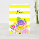 "Friend Yellow Stripe and Floral Birthday Card<br><div class=""desc"">Bright and cheery,  this card allows you to tell your friend just how you feel about her. All text can be customized to say exactly what you want. Personalize front with any name.</div>"
