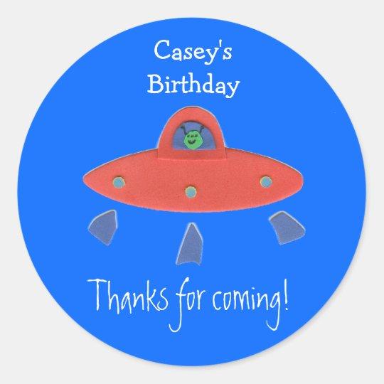 Friendly alien birthday favor label