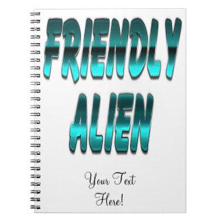 Friendly Alien Blue Spiral Notebook