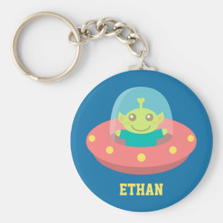 Friendly Alien in Spaceship, Outer Space Keychain