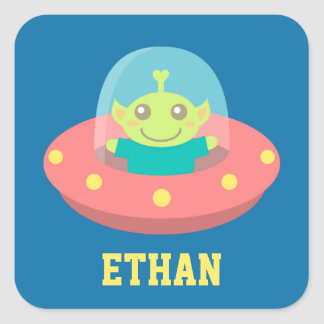 Friendly Alien in Spaceship, Outer Space Square Sticker