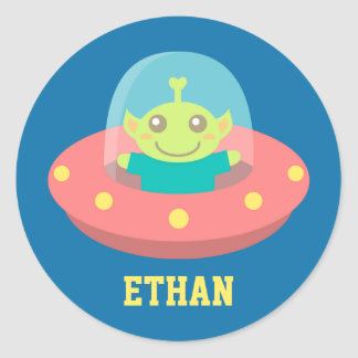 Friendly Alien in Spaceship, Outer Space Round Sticker