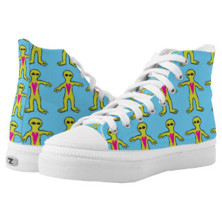 Friendly Alien Invasion Pattern High-Top Sneakers