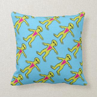 Friendly Alien Valentine Invasion Throw Pillow