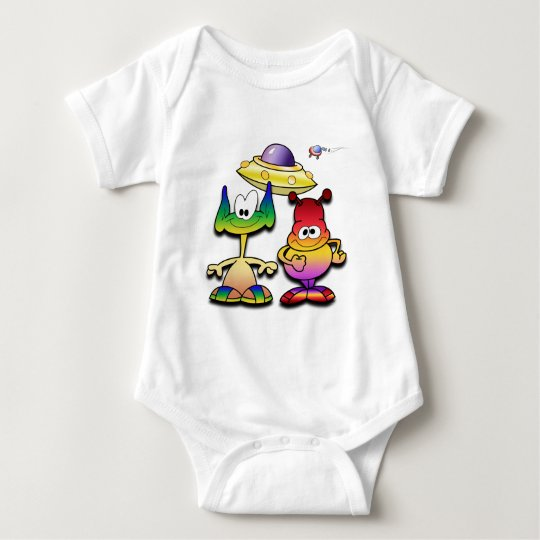 Friendly Aliens and a Flying Saucer Baby Bodysuit