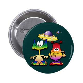 Friendly Aliens and a Flying Saucer Pinback Button