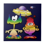 Friendly Aliens and a Flying Saucer Ceramic Tile
