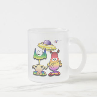 Friendly Aliens and a Flying Saucer Frosted Glass Coffee Mug